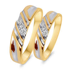 weding rings 1 10 ct t w diamond his and hers wedding rings 10k yellow gold