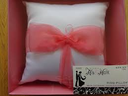 studio his and hers studio his hers white with pink ribbon ring pillow