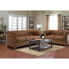 Distressed Leather Sofa by Furniture Awesome Tufted Distressed Leather Sofa With Coffee