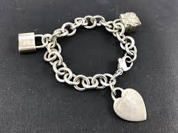 silver tag bracelet images Tiffany co sterling silver heart tag bracelet with lock gift jpg