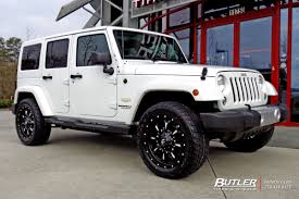 jeep wheels white jeep wrangler with 20in fuel krank wheels exclusively from butler