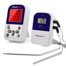 wireless remote dual 2 probe meat thermometer set for bbq smoker