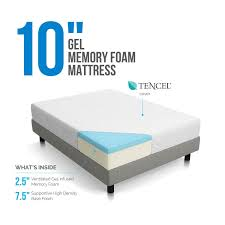 lucid 10 inch california king size gel memory foam mattress free