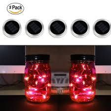 red glow mason jar solar light lid string light lids with 10 leds