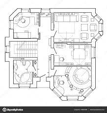 Meuble Salon Noir Et Blanc by Noir Et Blanc Plan Architectural D U0027une Maison Agencement De L