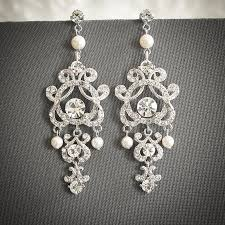chandelier wedding earrings vintage style wedding earrings swarovski pearl and bridal
