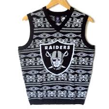 nfl licensed oakland raiders tacky sweater vest