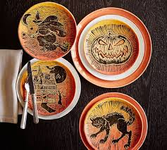 spooky halloween icon salad plates mixed set of 4 pottery barn