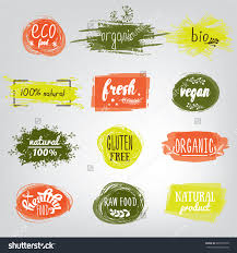 labels with vegetarian and raw food diet designs organic food