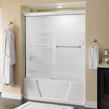 Frameless Shower Door Sliding by Delta Mandara 60 In X 56 1 2 In Semi Frameless Sliding Bathtub