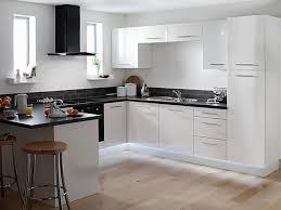 kitchen white galley kitchen with black appliances banquette