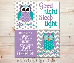 Purple Nursery Wall Decor Purple Turquoise Nursery Decor Owl Nursery Wall By Hollypopdesigns