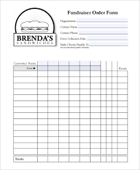 Order Sheet Template Free Fundraiser Order Form Template