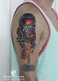 new school water tattoo water face new school tattoo by piranha tattoo studio best tattoo