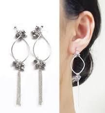 clip on chandelier earrings gold motif and purple clip on earrings dangle amethyst