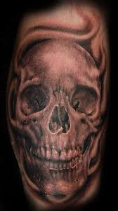 burning skull tattoos