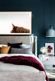 best 20 contemporary bedroom ideas on pinterest modern chic bold and colorful bedroom ideas with upholstered bed and industrial pendants hanging instead of table lamps