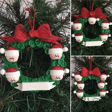 button wreath family personalised christmas tree decoration for 4