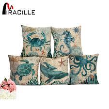miracille sea turtle printed cotton linen cushion cover marine