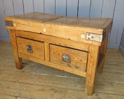 Antique Butcher Block Kitchen Island Old Antique Wooden Burchers Blocks U0026 Chopping Block