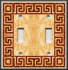 greek key home decor metal light switch plate cover greek key home decor orange rust