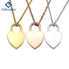 gold lock necklace images 10pcs lot stainless steel heart lock blank charm pendant necklace jpg