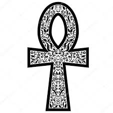 ankh cross with floral elements in black and white tattoo style