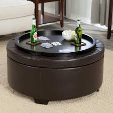 brown leather round cocktail ottoman table with wooden legs and