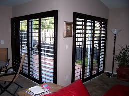 wooden glass door patio ideas sliding glass doors shutters with black color ideas