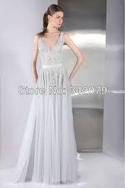 light gray long dress ph09456 tony ward light grey v neckline evening dress softly