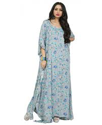 Soft Blue Color Justkartit 2017 Blue Color Floral Printed Decent Kaftans Casual