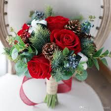 wedding flowers edinburgh christmas artificial bridal bouquets 2018 berry pinecone