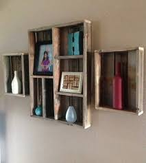 salvaged wood wall shelf and shadow box set of 3 shadow box