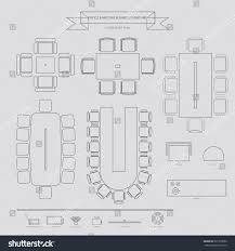 Floor Plan Business Office Conferance Business Outline Furniture Icon Stock Vector