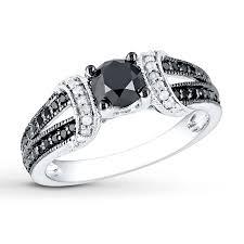 kays black engagement rings black white ring 1 ct tw cut 10k white gold