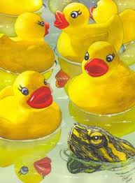 rubber duck paintings by lesley spanos rubber ducks