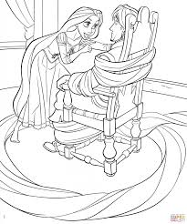 download rapunzel ties up flynn coloring page cartoon free
