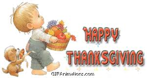 happy thanksgiving boy carrying food basket puppy animation gif