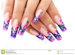 floral design on nails stock photo image 51457566