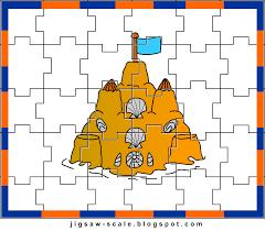 printable jigsaw puzzle for kids beach castle jigsaw