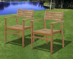 Patio Stacking Chairs Stainless Steel Outdoor Stacking Arm Chairs With Wooden Seat And