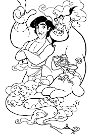 aladdin cartoons coloring pages with genie for kids printable