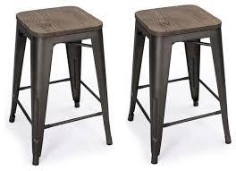 Metal Bar Stools With Wood Seat Metal Counter Stools With Wood Tops Seats Set Of 2 Black Bronze
