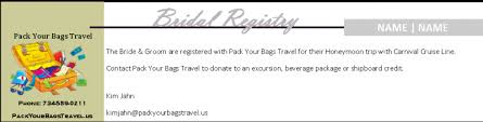 bridal registry inc pack your bags travel tours inc bridal registry