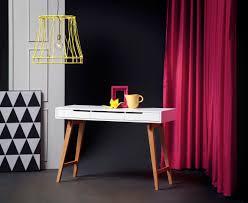 Schmaler Schreibtisch Aus Holz Konsole Massiv Braun Weiß Verstauen Schubladen Und Schreibtische