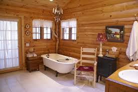 Log Home Kitchen Cabinets Log Cabin Decorating Ideas With Large Glass Windows And Complete