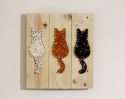 cat wall hanging string rustic reclaimed wooden godiygo