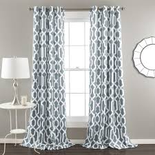 Grey And White Curtains And White Chain Pattern Blackout Window Curtain