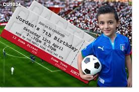 cu1034 boys soccer ticket birthday invitation mens birthday