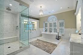 traditional master bathroom with undermount sink u0026 frameless